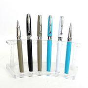 Ручка капілярна автоматична поворотна металева синя 0.7 мм Baixin RP834