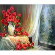 RSB8472_O Раск-ка по номер. 40*50см Розы у окна OPP (холст на раме с краск.кисти) (1)