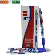 Ручка масляна автоматична синя 0.7 мм з гумовим тримачем U-nic Cello Original