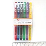 Набір кулькових ручок 1.0 мм  з гумовим тримачем 6 кольорів Tianjiao TY501P-6