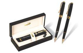 Ручка перова металева корпус чорного кольору в деревяному футлярі Croco Radius 506