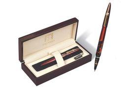 Ручка перова металева чорна 0.7 мм в дерев'яному футлярі Picasso 998