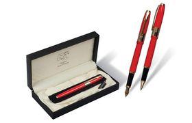 Ручка капілярна металева чорна 0.7 мм червоний корпус в подарунковому футлярі Picasso 999 Red