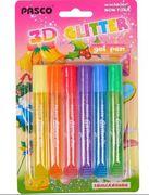 Клей з блискітками, 6 кольорів по 10 мл. 3D Pasco F-019-06 (24/144)