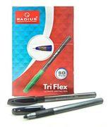 Ручка кулькова чорна 0.7 мм з гумовим тримачем корпус темно-сірого кольору Tri Flex PL Radius