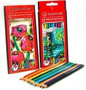 Карандаши ЦВЕТНЫЕ пластмассовые шестигранные 12 цветов с ластиком,CP-109,Radius (12/144)