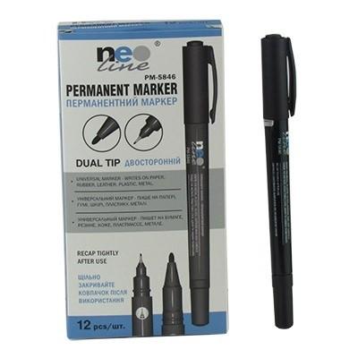 Маркер Permanent двусторонний черный, PM-5846, TM Neo Line (12/1728)