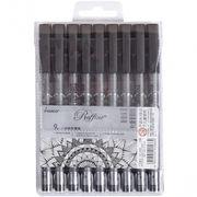 Лінери чорні, 9 шт в наборі, товщина письма: 0,05; 0,1; 0,2; 0,3; 0,4; 0,5; 0,6; 0,8 мм. Marco Raffine 7810-9PB