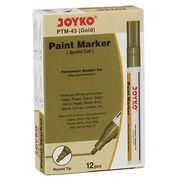 Маркер лаковий ТМ Joyko PTM-43, для перманентного промислового маркування на усіх матеріалах і для оздоблювальних робіт, колір чорнила: золотий , круглий пишучий вузол,