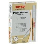 Маркер лаковий ТМ Joyko PTM-37, для перманентного промислового маркування на усіх матеріалах і для оздоблювальних робіт, білого кольору, круглий пишучий вузол,