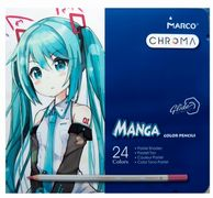 Олівці кольорові пастельні 24 кольори в металевому пеналі Marco Chroma Manga 8550-24TN