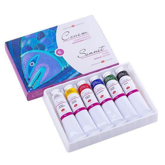 Набор акриловых фарб 6 цветов 18 мл в полимерном корексе Сонет ЗХ
