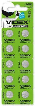 Батарейка годинникова Videx AG12/LR43 BLISTER CARD 10 шт