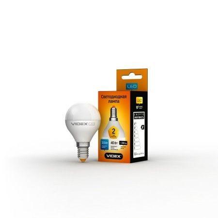 LED лампа VIDEX G45e 3.5W E14 3000K 220V 20шт/ящ