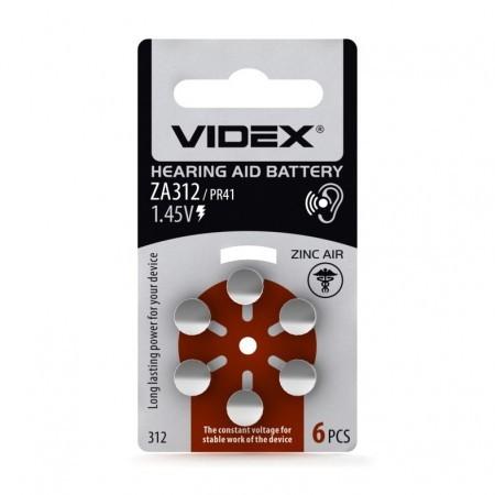 Батарейка повітряно цинкова Videx ZA312 (PR41) BLISTER 6