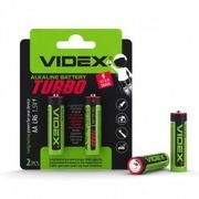 Батарейка лужна Videx LR6/AA Turbo 2шт BLISTER