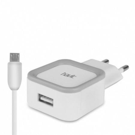 USB зарядка HAVIT HV-UC217S with Micro-USB cable 1m, 1USB 1A black/white (100 шт/ящ)