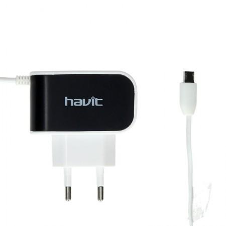 USB зарядка HAVIT HV-UC215 with Micro-USB cable 1m, 1USB 1A black/white (80шт/ящ)