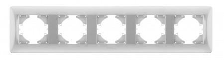 VIDEX BINERA Рамка серебряный шёлк 5 постов горизонтальная (VF-BNFR5H-SS) (12/48)