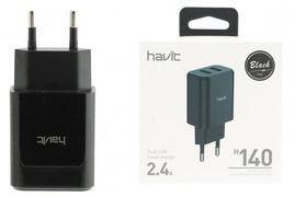 USB зарядка HAVIT HV-H140 Black Dual usb charger (5V/2.4A)(100шт/ящ)