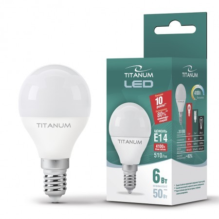 LED лампа TITANUM G45 6W E14 4100K 220V 50шт/ящ
