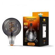 LED лампа VIDEX Filament G95FGD 4W E27 2100K дімерна графіт